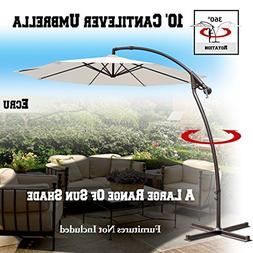 BenefitUSA 10'Cantilever Patio Umbrella Garden Outdoor Sunsh