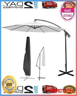10' Ft Hanging Umbrella Patio Sun Shade Offset Outdoor Marke