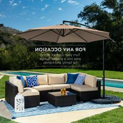 10 ft Hanging Umbrella Patio Sun Shade Offset Outdoor Market