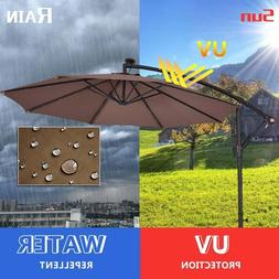 Costway 10' Hanging Solar LED Umbrella Patio Sun Shade Offse