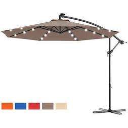 10' Hanging Solar LED Umbrella Patio Sun Shade Offset Market
