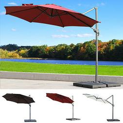 10' Hanging Tilt Offset Cantilever Patio Umbrella with Sta