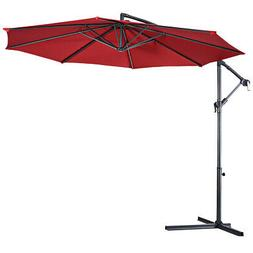 10' Hanging Umbrella Patio Sun Shade Offset Outdoor Market W