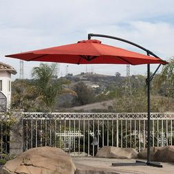 10' Hanging Umbrella Patio Terra Cotta UV Resistant Shade Of