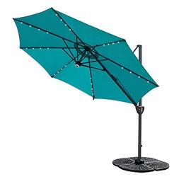 COBANA 10' Offset Patio Umbrella with Solar Powered 32LED