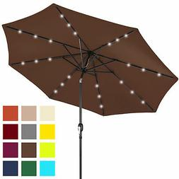 Best Choice Products 10' Solar LED Tilt Patio Umbrella Brown