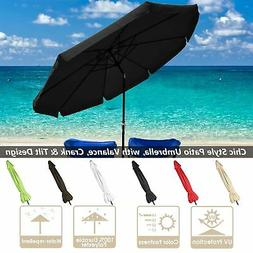 10ft Aluminum Outdoor Patio Umbrella w/Valance Crank Tilt Su