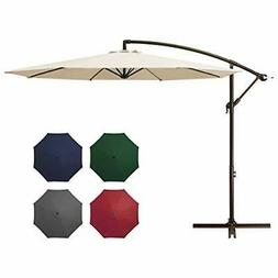 10ft Offset Hanging Patio Umbrella with 8 Ribs, Outdoor Mark