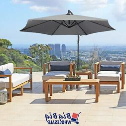 10Ft Patio Outdoor Umbrella Offset Cantilever Cranking and T