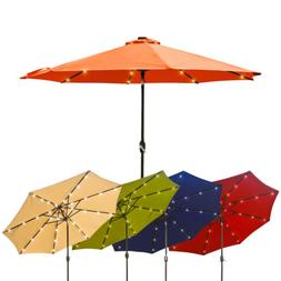 10FT Patio Solar Umbrella LED Patio Market Steel Tilt W/ Cra
