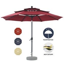 10ft Patio Umbrella 3 Tier Large Beach Garden Outdoor Paraso