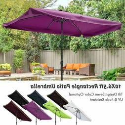 10x6.5ft Rectangle Aluminum Outdoor Patio Umbrella Sunshade