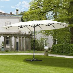 Outsunny 15' Double-Sided Patio Umbrella Parasol Sun Shelter
