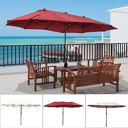 15' Double-Sided Patio Umbrella Twin Sun Canopy Market Shade