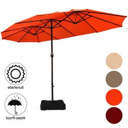 15 Ft Patio Double Sided Umbrella Large Market Umbrella with