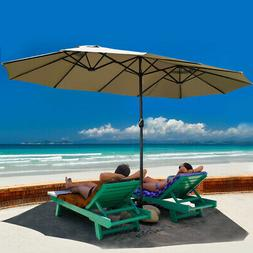 Costway 15' Market Outdoor Umbrella Double-Sided Twin Patio