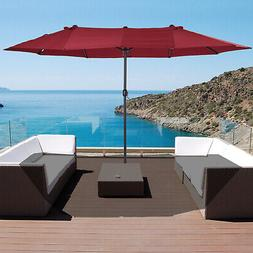 Outsunny 15' Outdoor Patio Umbrella with Twin Canopy Sunshad