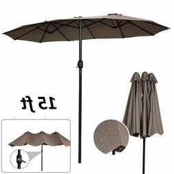 15ft Patio Twin Umbrella Double Sided Market Crank Outdoor G