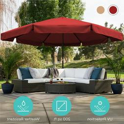 16ft Market Patio Umbrella with Base Large Heavy-Duty Deluxe