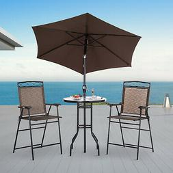 Outsunny 4Pc Steel Folding Dining Table Set w/ Umbrella Outd
