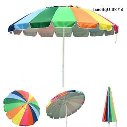 6/7/8ft Rainbow Beach Patio Umbrella Metal Market Tilt 16 Ri