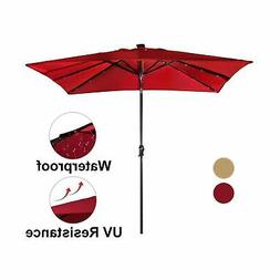Abba Patio 7 by 9-Ft Rectangular Patio Umbrella w/ 32 Solar