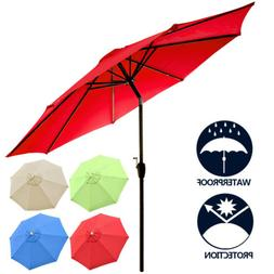 8Ft 9Ft 10Ft Patio Table Umbrella Outdoor Market 8 Ribs w/ C