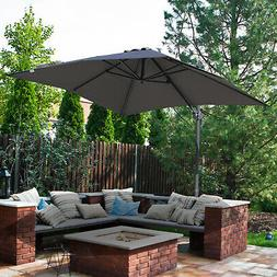 Outsunny 8'x8' Square Offset Cantilever Market Patio Umb