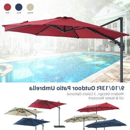 9/10/13Ft Cantilever Patio Hanging Umbrella Offset Outdoor S
