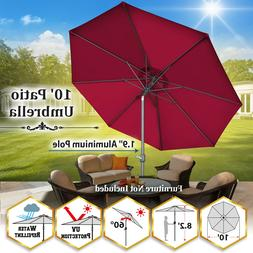 9/10' Patio Umbrella w Tilt Crank 8 Rib Market Sunshade 48mm