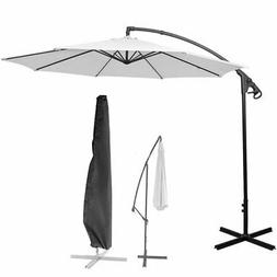 9-11Ft Hanging Umbrella Patio Sun Shade Offset Outdoor Marke
