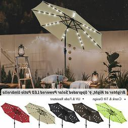 Patio Outdoor Umbrella Solar LED 9' FT 8 Ribs Garden Parasol