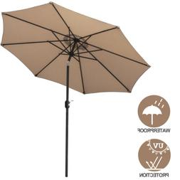 9FT Patio Umbrella Outdoor Garden Table Umbrella with 8 Stur