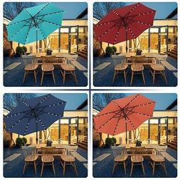9 FT Solar Powered LED Lighted Patio Umbrella Fade-Resistant