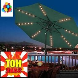 9' Hanging Solar LED Umbrella Patio Sun Shade Offset Market