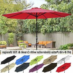 9' Outdoor Umbrella Patio 8 Ribs Market Garden Crank Tilt Be