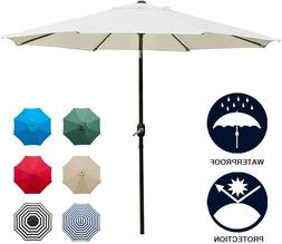 9' Patio Umbrella Outdoor Table Umbrella with 8 Sturdy Ribs