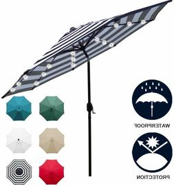 Sunnyglade 9' Solar 24 LED Lighted Umbrella w/ 8 Ribs Adjust