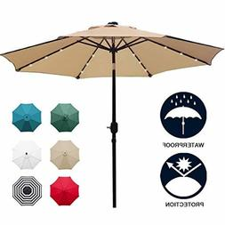 Sunnyglade 9'Solar 24LED Lighted Patio Umbrella,8 Ribs/Tilt
