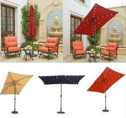 9'x6' Patio Outdoor Aluminum Umbrella Solar LED Light Umbrel