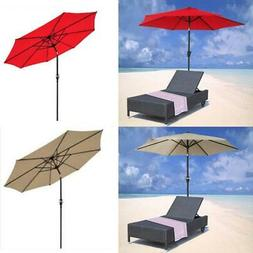 9FT 8Ribs Aluminum Patio Umbrella Market Sun Shade Steel Til