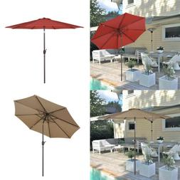 9FT 8Ribs Patio Umbrella Beach Market Sun Shade UPF 50 Tilt