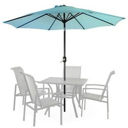 9ft Outdoor Patio Umbrella Market Table Yard Garden Blue w/