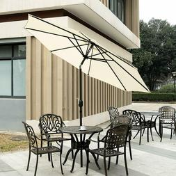 9ft Patio Table Umbrella with Crank and 8 Ribs,Tilt Adjustme