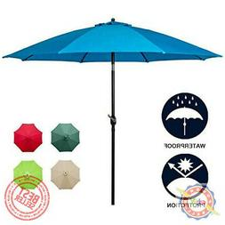 "9""Sunnyglade Umbrella Fabric Aluminum Patio Auto Tilt And Cr"