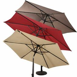 9FT Patio Umbrella Patio Market Steel Tilt W/ Crank Outdoor