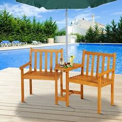 Outsunny Acacia Wood Outdoor Slatted Tete-A-Tete Bench Chair