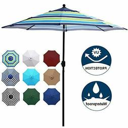 Blissun 9' Outdoor Aluminum Patio Umbrella, Market Striped U