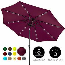 BCP 10ft Solar LED Lighted Patio Umbrella w/ Tilt Adjustment