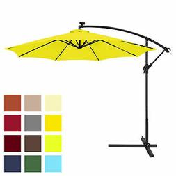 BCP 10ft Solar LED Patio Offset Umbrella w/ Hand Crank, Easy